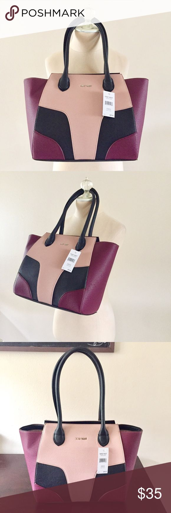 NWT Pink and Plum Nine West Shoulder Bag Brand New Nine West purse features pale pink and plum color block pattern. Gorgeous feminine, chic colors. 16 x 11.5 x 6 inch dimensions make it the perfect size tote! Nine West Bags Shoulder Bags