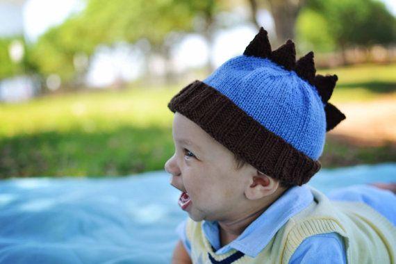Hand knit baby boy dinosaur mohawk hat.
