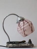 Vintage jaren 10 bedlampje op marmeren voet met hagedis