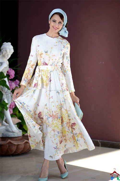 Günlük Desenli Hanımeli Elbise | Armine | Setrms | Kayra | Aker | Alvina
