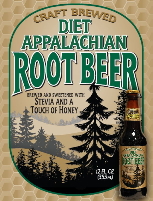 Appalachian Brewing Co. Available in Draft & Bottles – 24/12oz per case Our handcrafted Diet Root Beer is brewed like our regular root beer except with Stevia, an all natural sweetener, and a touch of honey! Appalachian Diet Root Beer is a caffeine and gluten-free craft soda. We're proud to say that the taste is fantastic and all with only 15 calories and 1g total carb. #DietRootBeer #CraftSoda
