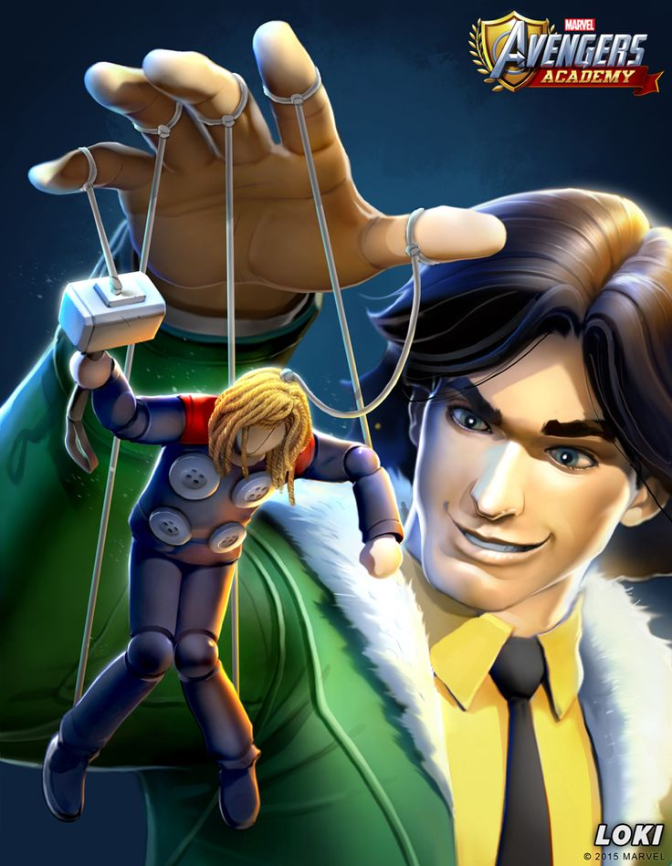 Loki from Avengers Academy--just announced for mobile devices!  Painting by David Nakayama.  #avengers #academy #avengersacademy #marvel #loki #davidnakayama