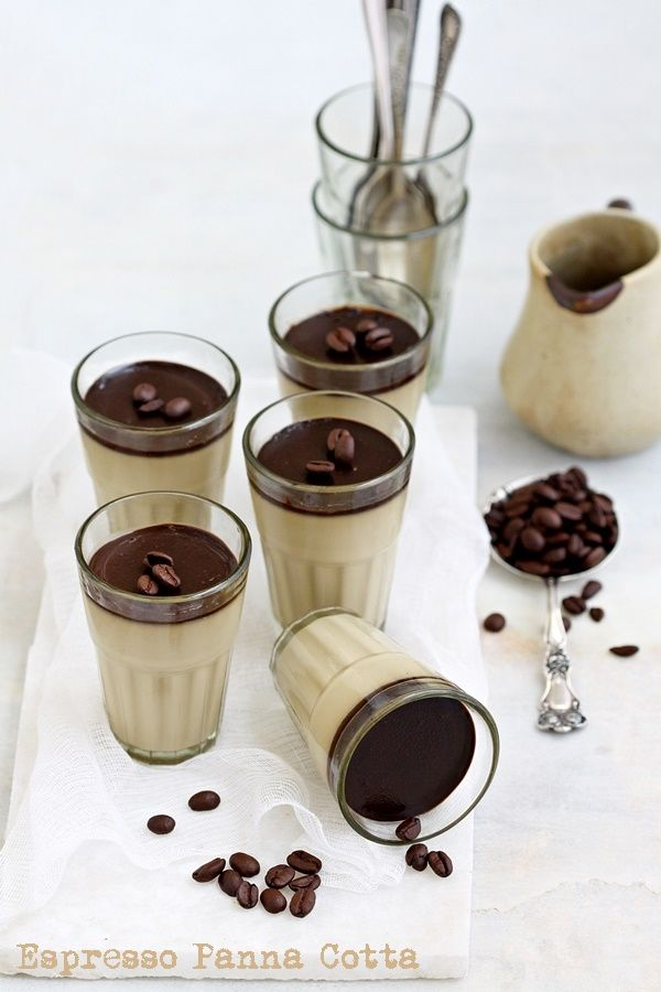 Espresso Panna Cotta. Smooth, silky, seductive with coffee written all over it, how can dessert be so indulgent. The simplest make ahead dessert ever!