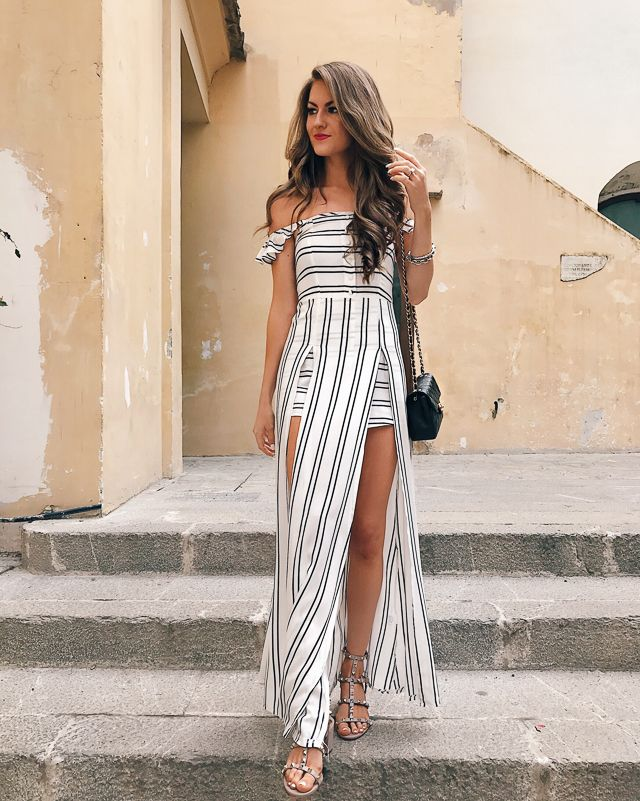 maxi dress with a romper underneath. LOVE