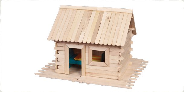 Build your own cabin in the woods out of craft sticks and glue.