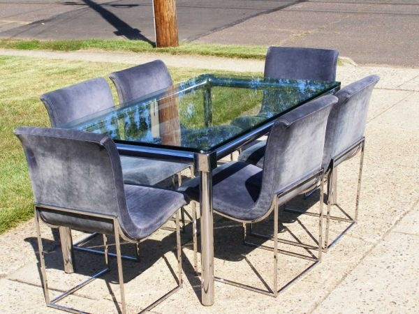 Vintage 1974 Thayer Coggin Milo Baughman Modern Chrome Dining Table