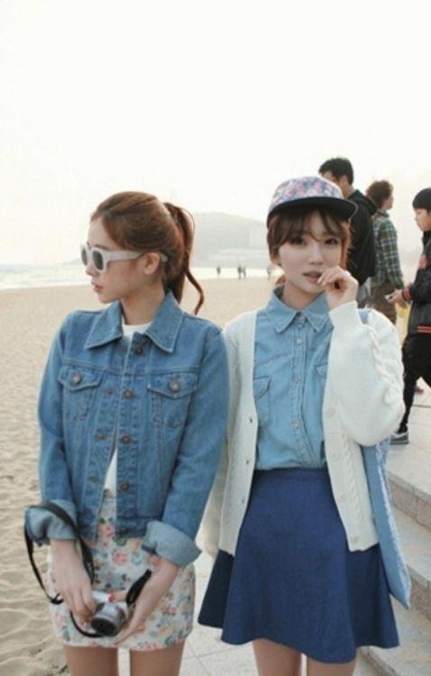 denim jacket + shirt  + circle skirt + cap + shades  + cardigan over  denim button-down: quirk, Asian