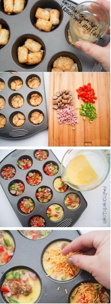 Mini bocaditos de tortilla de patatas, pimientos, champiñones y jamón york. www.RevistaCocina.com