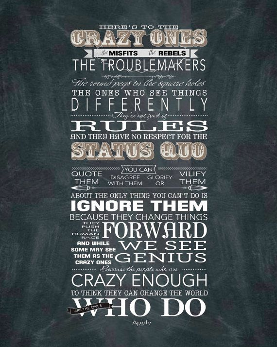 Here's to the Crazy Ones - Word Art Prints - on Canvas - 16x20 Apple Inc. Steve Jobs quote