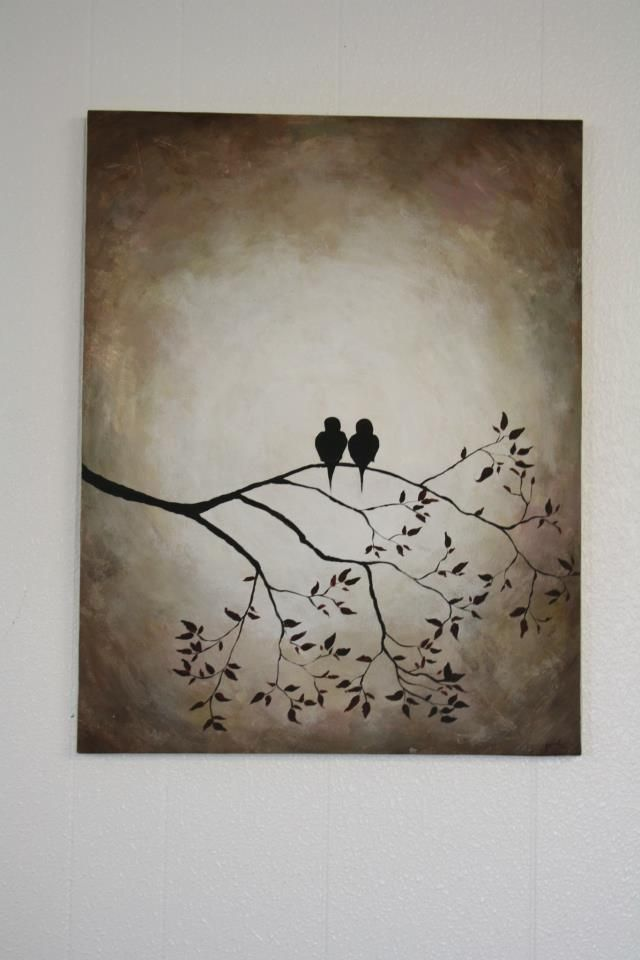 @Abbi Oakley Uitermarkt @Arica Smith Brinegar Canvas painting of birds. Love birds!