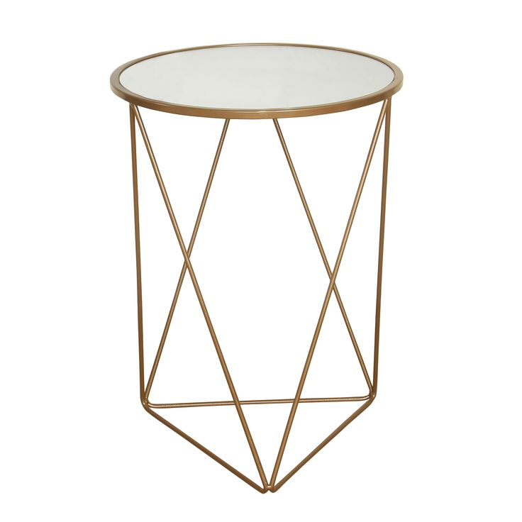HomePop Metal Accent Table Triangle Base Round Top