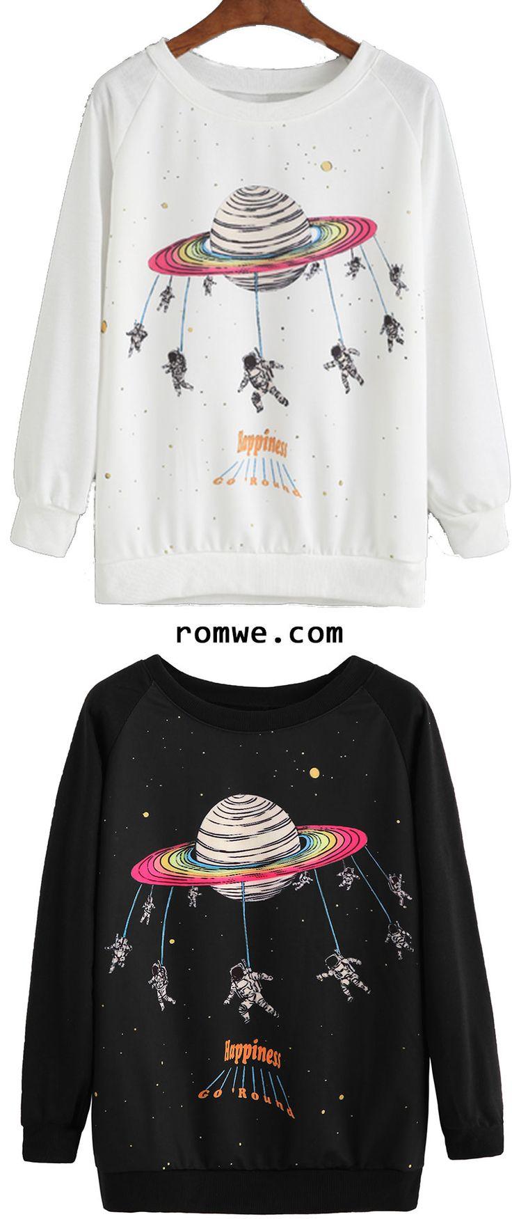 Space Print Raglan Sleeve Sweatshirt