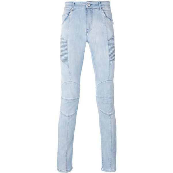Pierre Balmain destroyed skinny jeans ($474) ❤ liked on Polyvore featuring men's fashion, men's clothing, men's jeans, blue, mens distressed skinny jeans, mens blue ripped jeans, mens distressed jeans, mens ripped jeans and mens torn jeans