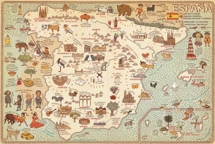 Fotos: Mapamundi: Un atlas mundial sorprendente | El Viajero | EL PAÍS >> #España El libro 'Atlas del mundo' (editorial Maeva Young) ofrece un viaje insólito alrededor del planeta a través de unos mapas que muestran con ilustraciones las curiosidades de 46 países. En el plano de #España, por ejemplo, aparecen el Museo del Prado y la Universidad de Salamanca, además de Don Quijote, el lince ibérico y la paella.