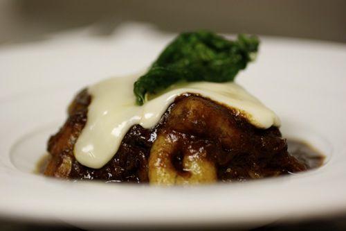 GNOCCHI CON CODA DI BUE  potato gnocchi Poutine style with fontina and chianti braised oxtail