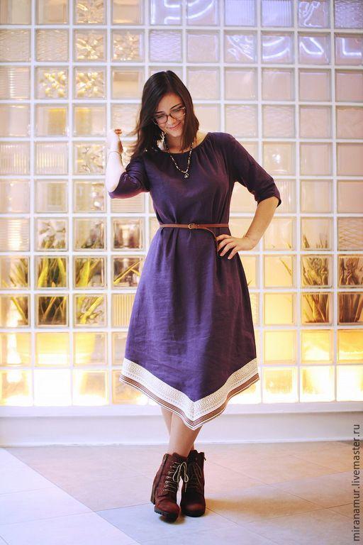 Купить Миди-платье Индиго - темно-фиолетовый, бохо, русский стиль, лен, хлопок, индиго, linen, skirt, midi, slavic, folk, ethno, russian style, violet, cotton, boho, indigo
