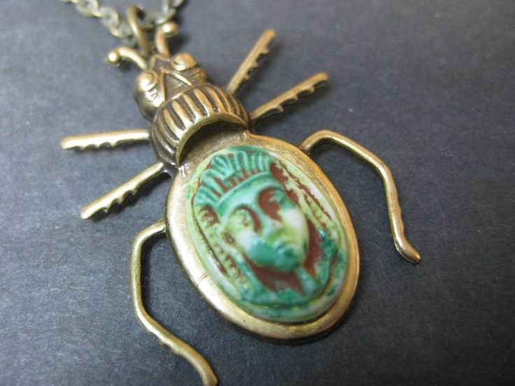 Scarab with Vintage Green Tut stone on antiqued gold tone chain necklace
