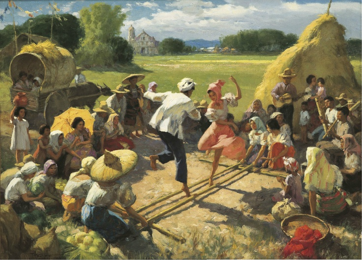 """[PAINTING] """"Tinikling"""" by Fernando Amorsolo (oil on canvas)"""