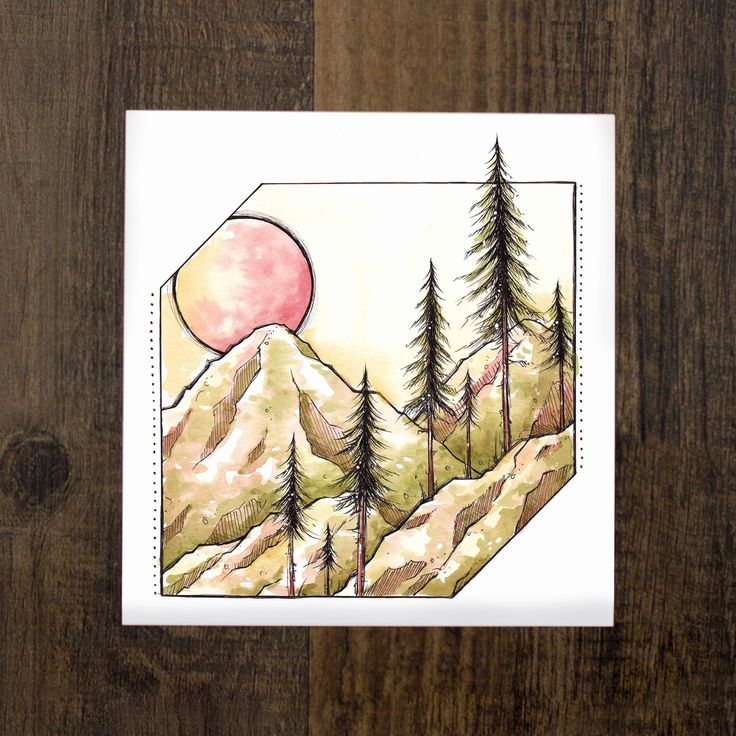 Inspired by hikes in the forest just before the sun sets ----- Watercolor + Ink Print on 60lb Canvas Paper Signed + by the Artist 5x5