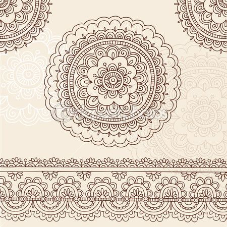 More elaborate mehndi mandala flowers & border  . . . .   ღTrish W ~ http://www.pinterest.com/trishw/  . . . .  #doodle