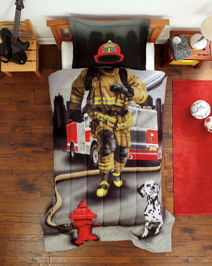 Firefighter Twin Comforter Set - Fireman Bedding Gray Red for Boy or Girl