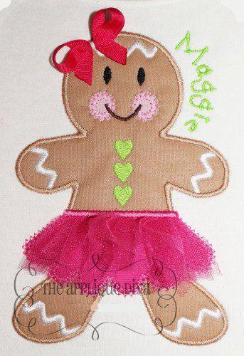 Christmas Tutu Gingerbread Girl  Digital by theappliquediva, $2.99