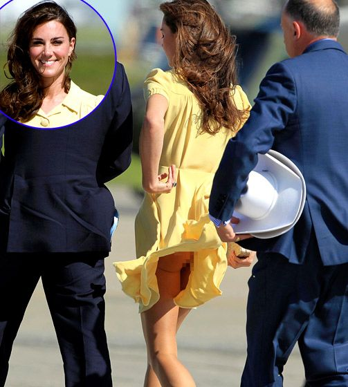 Kate Middleton Oops! During her 2011 tour of Canada with Prince William, Kate Middleton inadvertently flashed her royal bum when a gust of wind caused her dress to fly up at the Calgary airport.