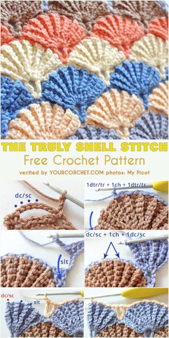 57927a73659 The Truly Shell Stitch Free Crochet Pattern and Tutorial. The beautiful  shell stich is so pretty which makes it one of the most popular stitches