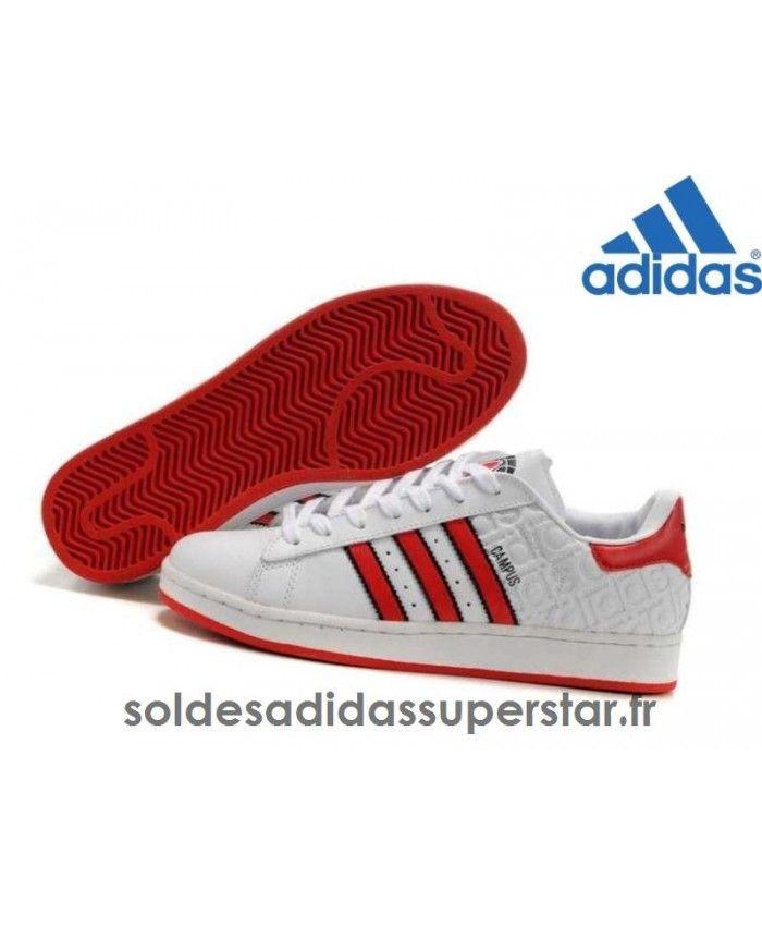 Femmes Soldes Adidas Campus Ii Chaussures Blanc Noir Rouge Jogging Pas Cher[Adidas375]
