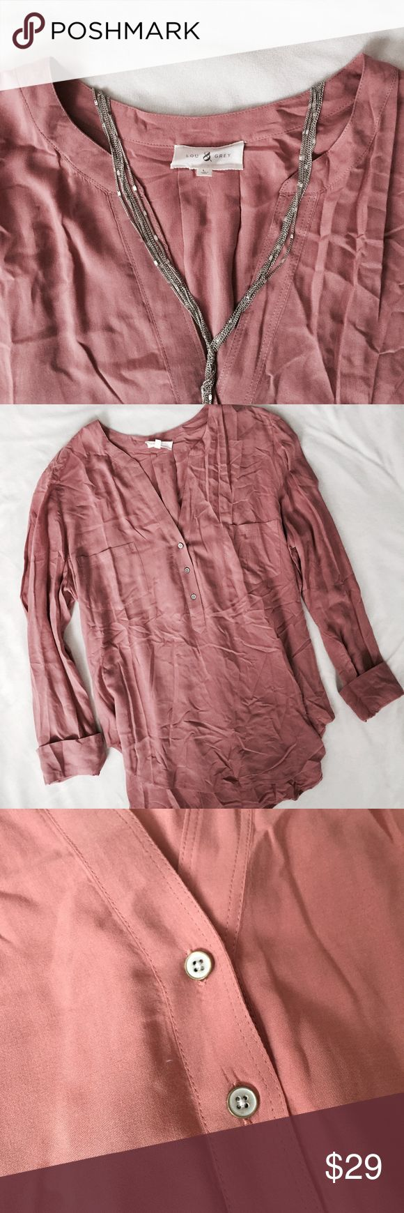Lou & Grey Long Sleve extremely soft! gorgeous mauve color, no rips, stains, or imperfections. Lou & Grey Tops Button Down Shirts