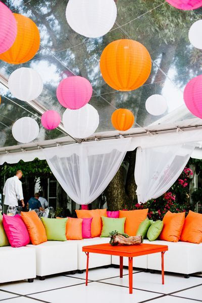 love this colorful lounge area! | Bethany & Dan #wedding