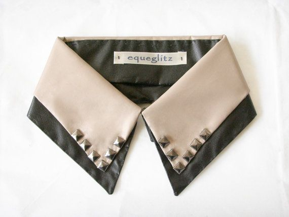 Double layer faux leather stud collar necklace on Etsy, £18.72