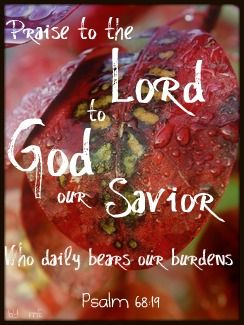 Blessed be the Lord, Who bears our burdens and carries us day by day, even the God Who is our salvation! Selah [pause, and calmly think of that]! (Psalm 68:19 AMP)
