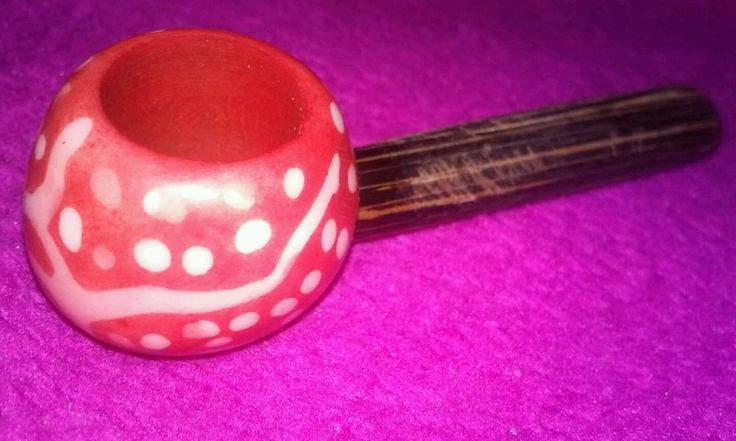 Colorful Red Swirl and Dots Pipe Tobacco Smoking Pocket Size Wood Tagua Bowl + Metal Screens