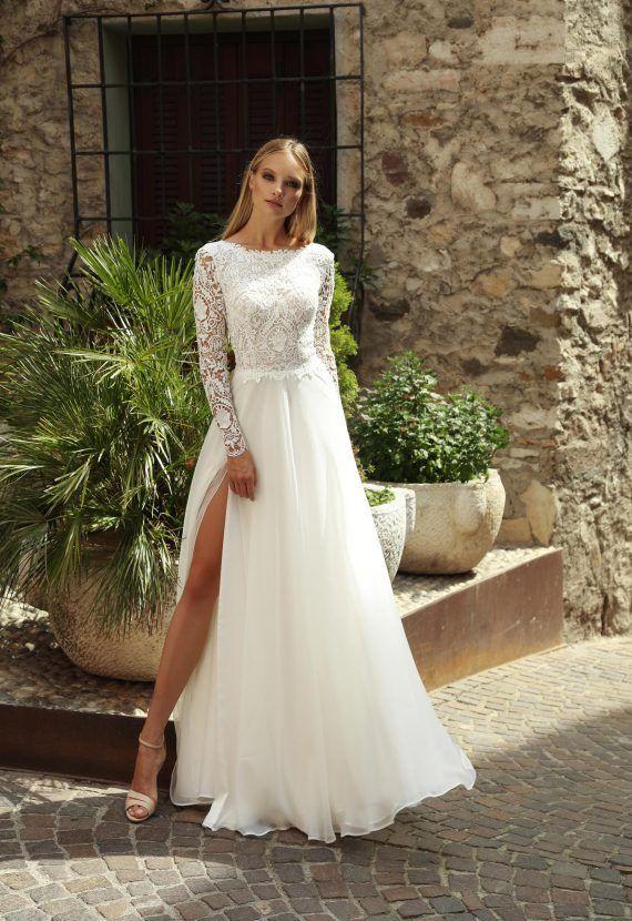 Suknia Slubna Bymako Z Azurowa Koronka I Muslinowym Dolem Wedding Dresses White Wedding Dresses Dresses