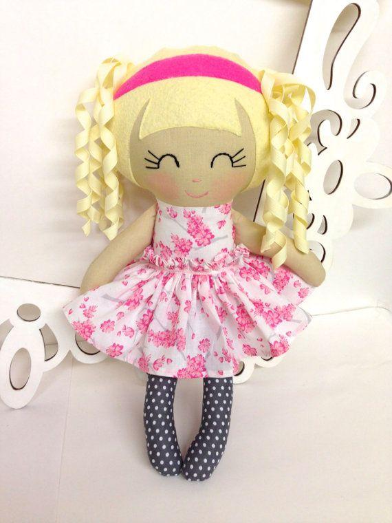 Rag Dolls Handmade Doll Fabric Doll Cloth Doll by SewManyPretties, $45.00 #babygirl #girlbirthday #girlgift