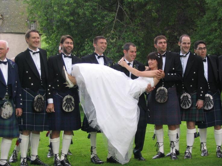 wedding with kilted groomsmen