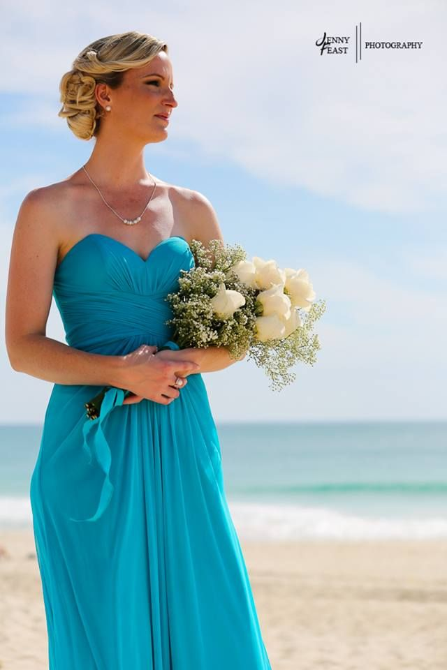 Beach bridesmaid from wedding by Total Brides hair & makeup.  (c) Jenny Feast Photography