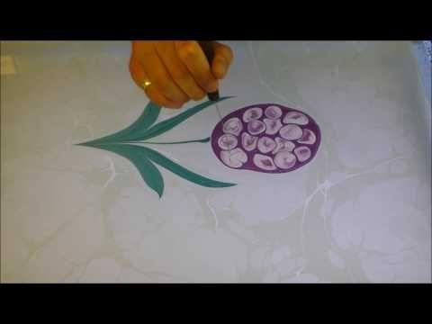 Ebru Sanati Sümbül cicegi, Painting on Water, Marbling, Turkish Art - YouTube