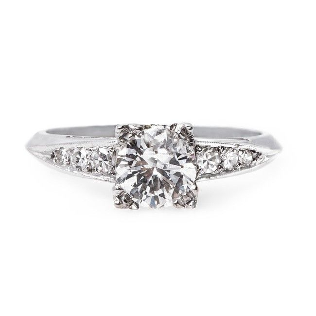 Vintage 1950's diamond & platinum engagement ring // Huxley from Trumpet & Horn // $5,750