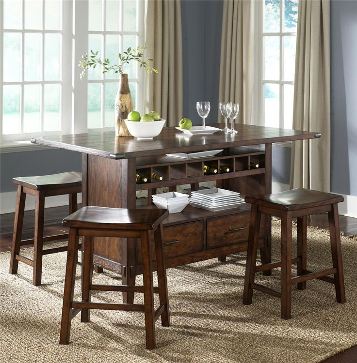 Cabin Fever Center Island Table With 4 Stools By Liberty Furniture