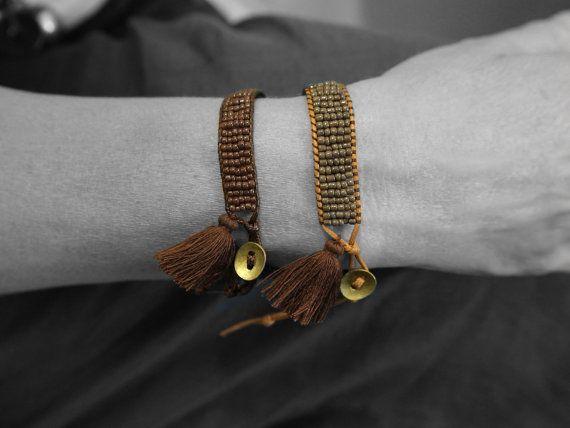 Bead Woven Bracelet Beaded Cuff Bracelet Tassel by PiscesAndFishes