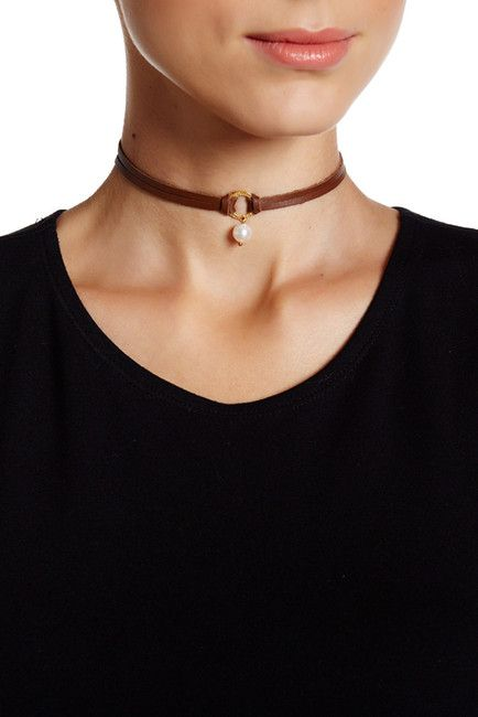Image of Chan Luu 8mm Freshwater Cultured Pearl & Halo Leather Wrap Choker
