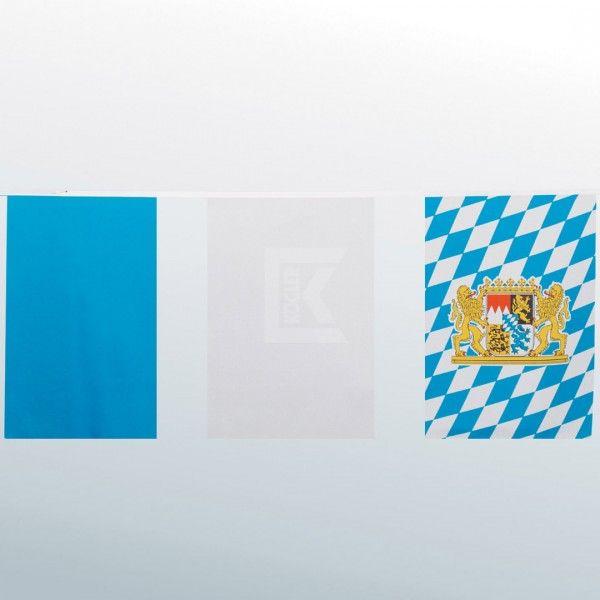 Fahnenkette: hellblau, weiß und Bayern-Fahne, 10 Meter, wetterfest Oktoberfest Deko Wimpel & Fahnen. Der Fetenman macht Deine Party bunt - party-deko-shop.de