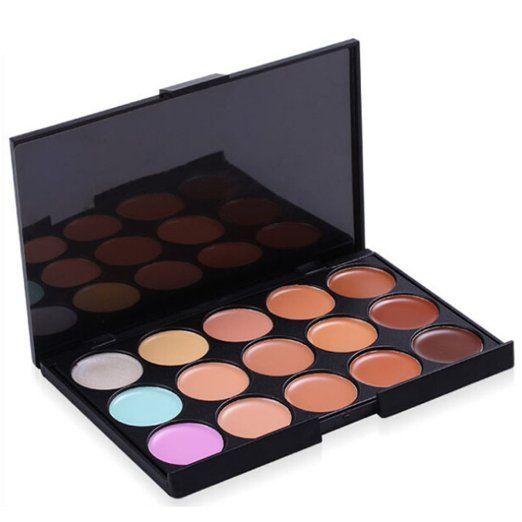Addfavor 15 Colors Professional Concealer Palette Concealer Foundation Makeup Palettes Cosmetic Camouflage Contour Palette Beauty Set Kit (#01)