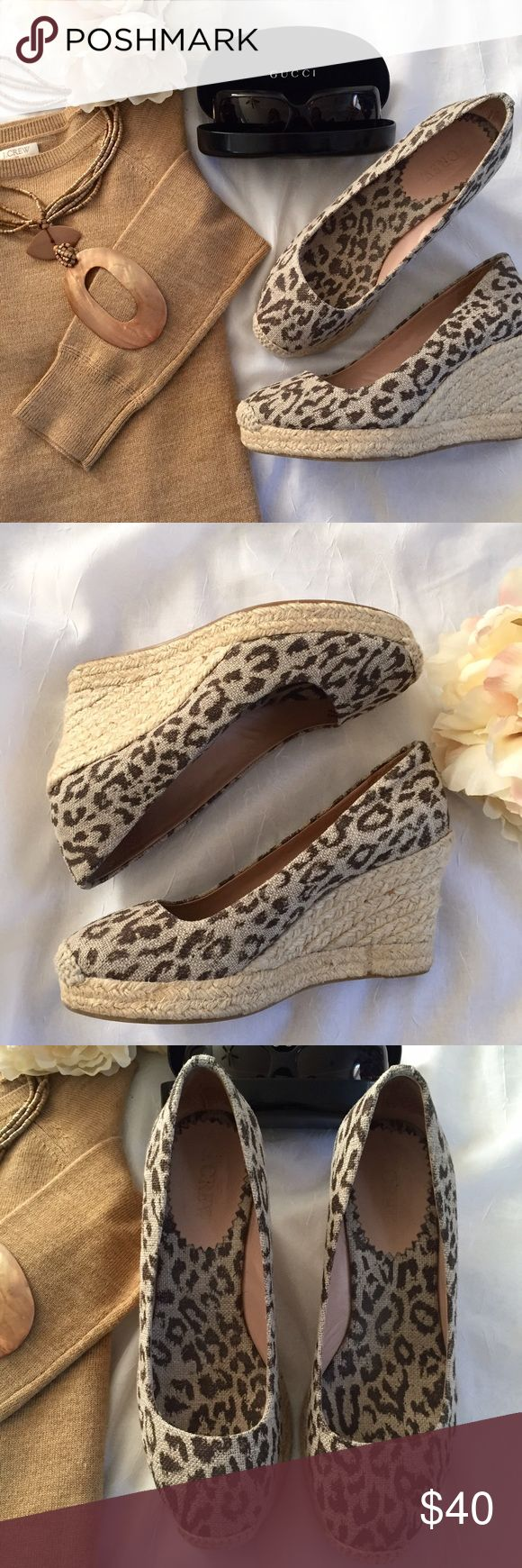 🆕 J. Crew wedge espadrilles These J. Crew animal print espadrilles are in perfect condition. No signs of wear except the bottom. Heel/wedge measurement is 3.5 inches. J. Crew Shoes Espadrilles