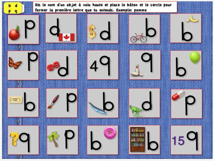 Jeu pour différencier les lettres B-D-P-Q - par Brigitte Léonard