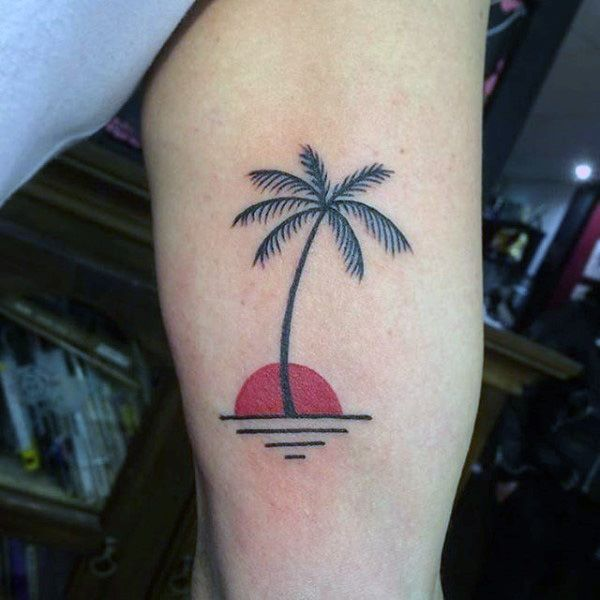Palm Tree Tattoo With Sunset On Arms For Men