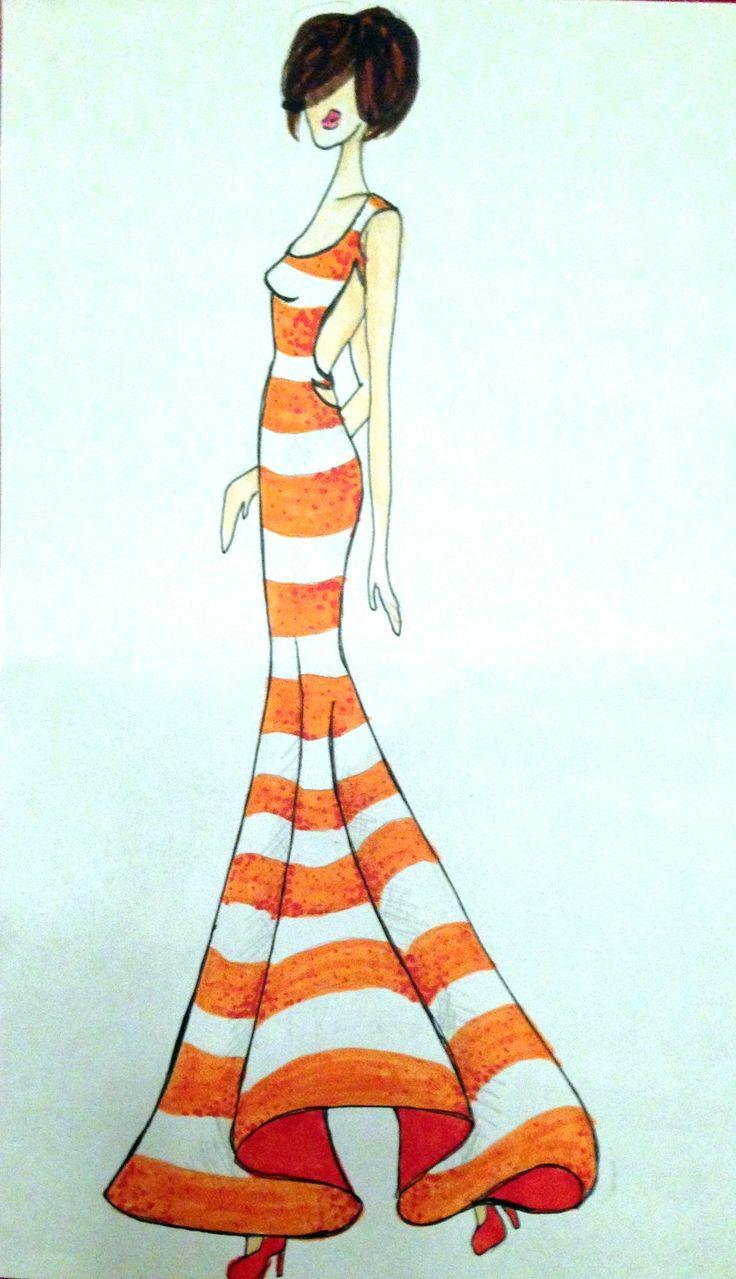 Fashion Illustration - Nautical Stripe Gown