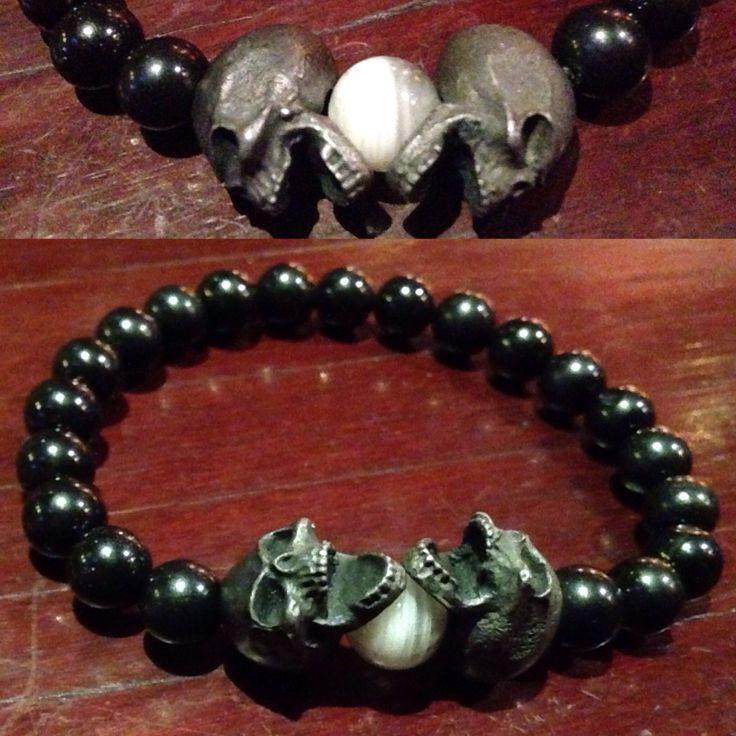 Black Tourmaline & Grey Moonstone skull bracelet